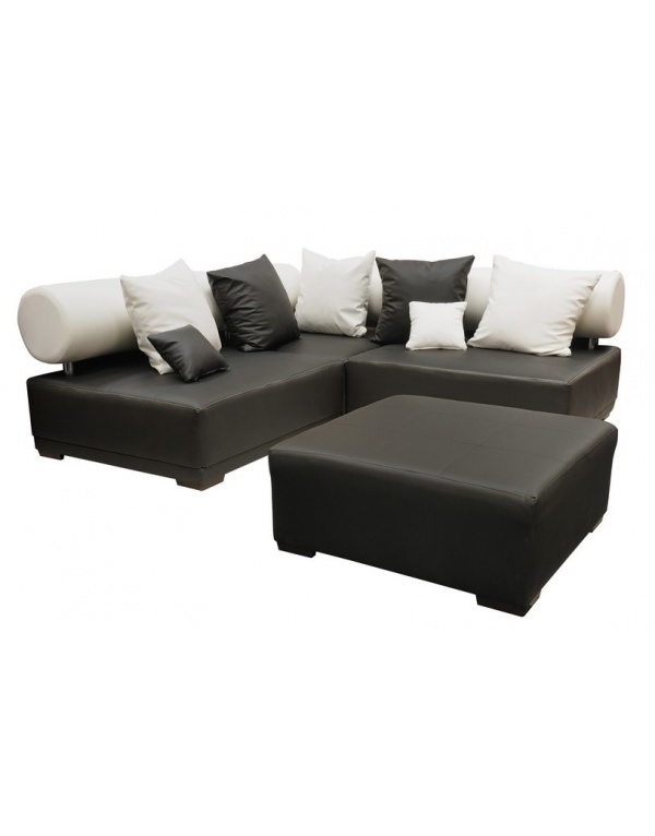banquette alfa convertible avec pouf noir et blanc deco meubles. Black Bedroom Furniture Sets. Home Design Ideas