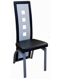 Lot de six chaises de salle à manger noir et blanche VENISE
