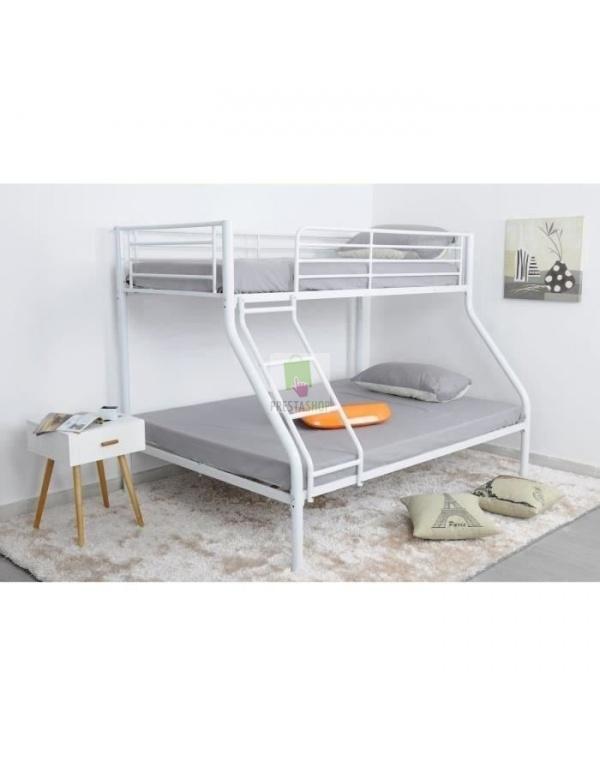 lit superpos 3 places blanc deco meubles. Black Bedroom Furniture Sets. Home Design Ideas