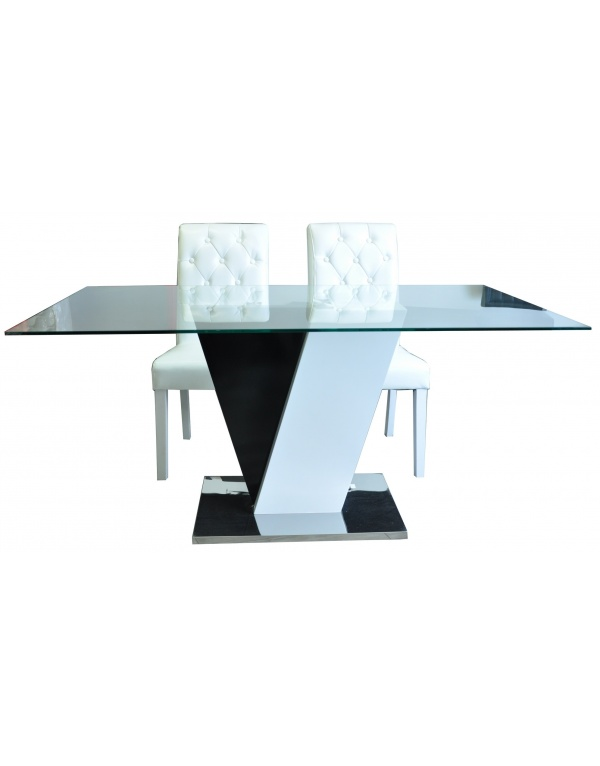 table salle manger le mans laqu e noir et blanc. Black Bedroom Furniture Sets. Home Design Ideas