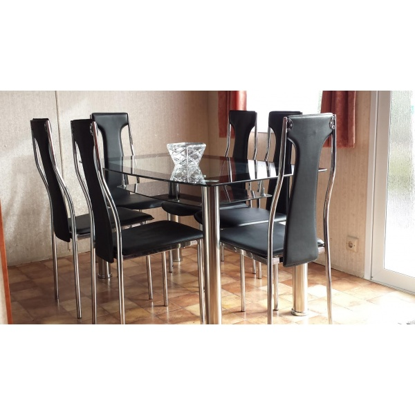 Table et 6 chaises table de salle manger nexus blanc for Table et 6 chaises conforama