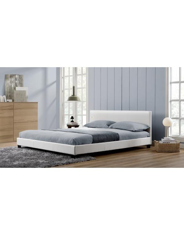 lit double blanc melbourne 140 deco meubles. Black Bedroom Furniture Sets. Home Design Ideas