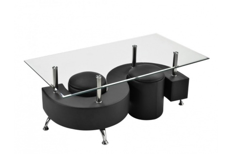 table basse s noir 2 poufs deco meubles. Black Bedroom Furniture Sets. Home Design Ideas
