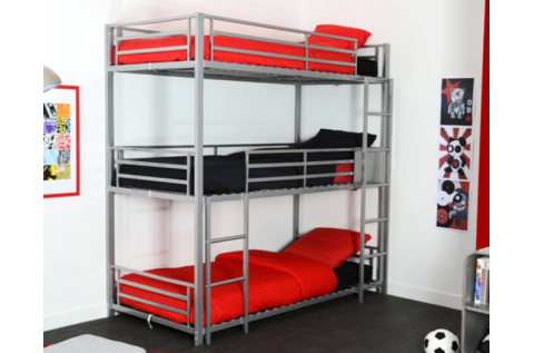 lit superpos s 3 places trio gris deco meubles. Black Bedroom Furniture Sets. Home Design Ideas
