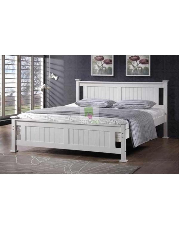 Lit 2 places en bois blanc batna deco meubles - Lit 2 places en bois ...
