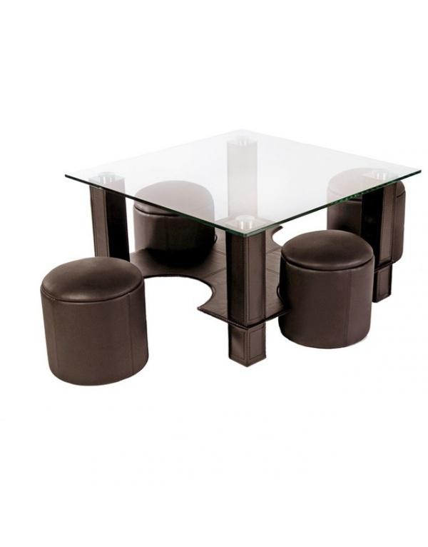 Table basse en verre avec pouf chocolat yvelise - Table basse en verre avec pouf ...