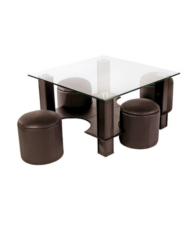 table basse en verre avec pouf chocolat yvelise. Black Bedroom Furniture Sets. Home Design Ideas