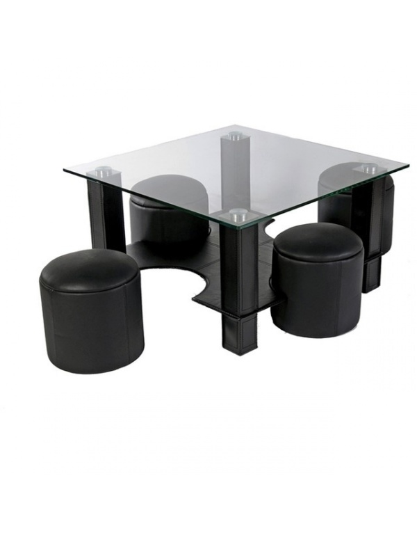 table basse en verre avec pouf noire yvelise. Black Bedroom Furniture Sets. Home Design Ideas